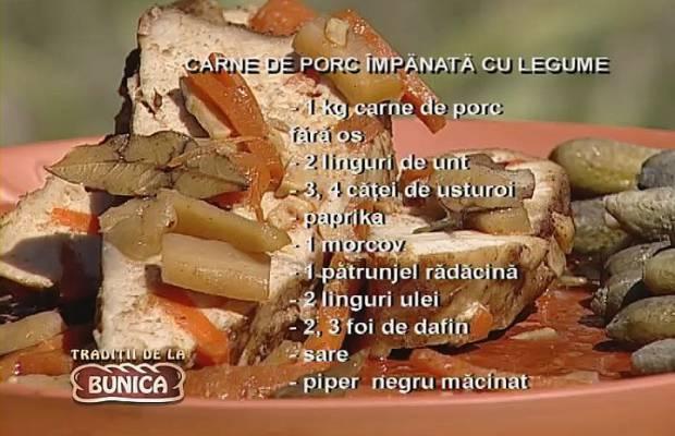 Carne de porc impanata cu legume