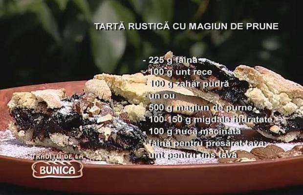 Tarta rustica cu magiun de prune si samburi de caise