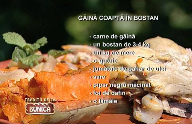 Gaina coapta in bostan