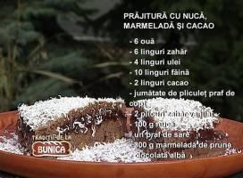 Prajitura cu nuca, cacao si marmelada
