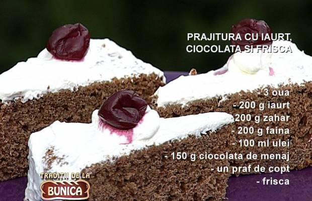 Prajitura cu iaurt, ciocolata si frisca